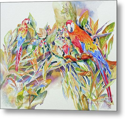 Metal Print featuring the painting Parrots In Paradise by Mary Haley-Rocks