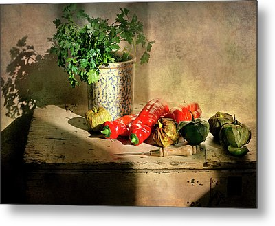 Metal Print featuring the photograph Parsley And Peppers by Diana Angstadt