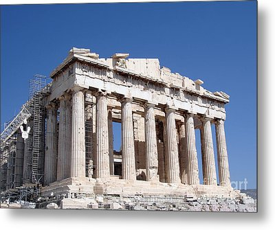 Parthenon Front Facade Metal Print by Jane Rix
