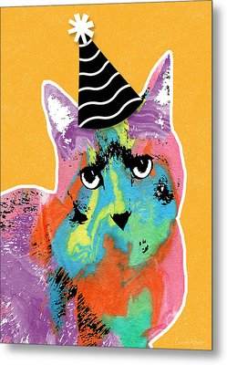 Party Cat- Art By Linda Woods Metal Print by Linda Woods