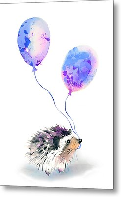 Party Hedgehog Metal Print by Krista Bros