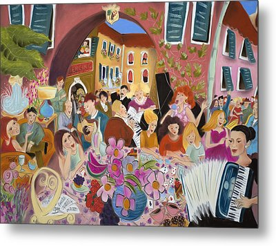 Party In The Courtyard Metal Print by Tatjana Krizmanic