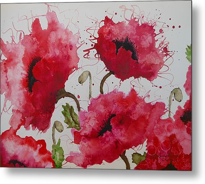 Metal Print featuring the painting Party Poppies by Karen Kennedy Chatham