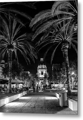 Metal Print featuring the photograph Pasadena City Hall After Dark In Black And White by Randall Nyhof