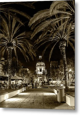 Metal Print featuring the photograph Pasadena City Hall After Dark In Sepia Tone by Randall Nyhof
