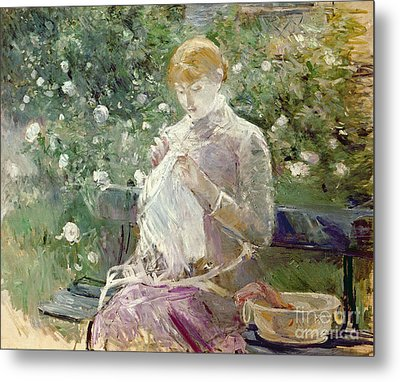 Pasie Sewing In Bougivals Garden Metal Print