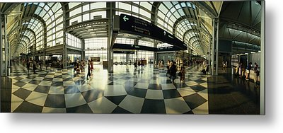 Passengers At An Airport, Ohare Metal Print by Panoramic Images