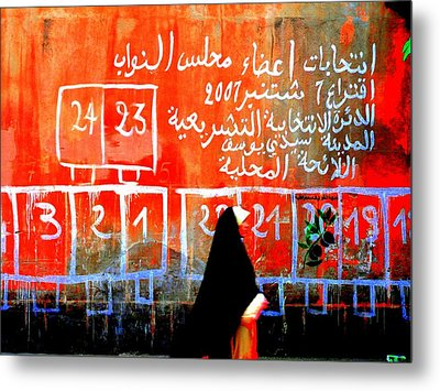 Passing By Marrakech Red Wall  Metal Print by Funkpix Photo Hunter