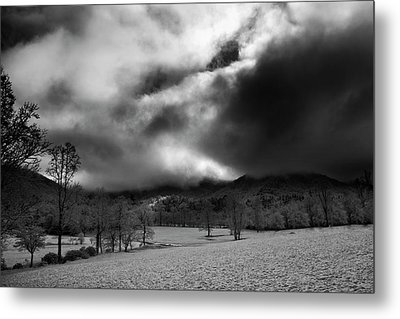Metal Print featuring the photograph Passing Snow In North Carolina In Black And White by Greg Mimbs