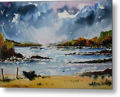 Passing Storm At Lahinch Metal Print by Wilfred McOstrich