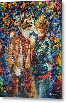 Passion Of The Cats  Metal Print by leonid Afremov