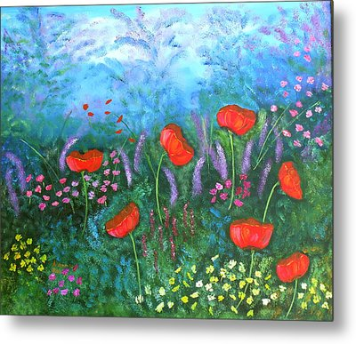 Passionate Poppies Metal Print