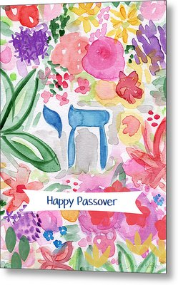 Metal Print featuring the mixed media Passover Chai- Art By Linda Woods by Linda Woods