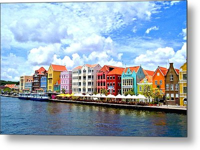 Pastel Building Coastline Of Caribbean Metal Print