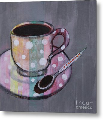 Pastel Stripes Polka Dotted Coffee Cup Metal Print by Robin Maria Pedrero