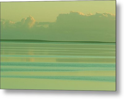 Pastel Sunset Sea Green Metal Print