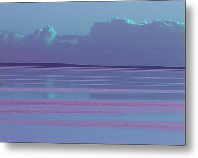 Pastel Sunset Sea Lilac Metal Print