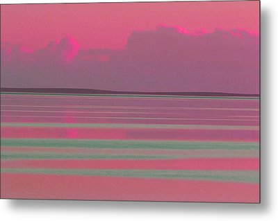 Pastel Sunset Sea Pink Metal Print