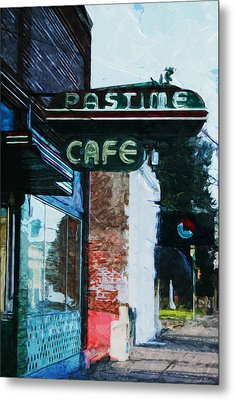 Pastime Cafe- Art By Linda Woods Metal Print