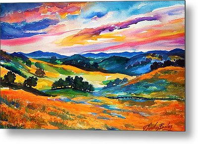 Pastoral Poppies On Yokohl Valley Metal Print by Therese Fowler-Bailey