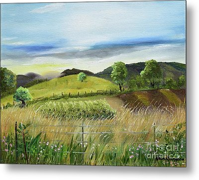 Metal Print featuring the painting Pasture Love At Chateau Meichtry - Ellijay Ga by Jan Dappen