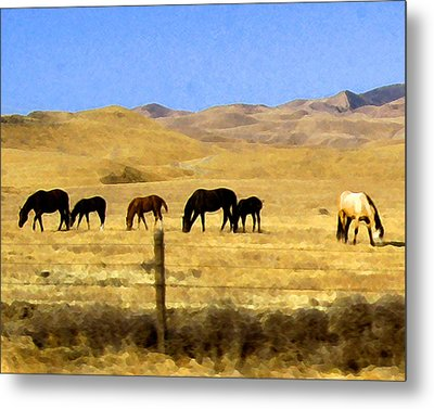 Metal Print featuring the digital art Pastured Horses by Timothy Bulone