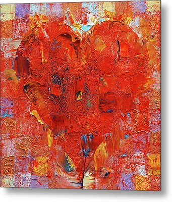 Patchwork Heart Metal Print by Michael Creese