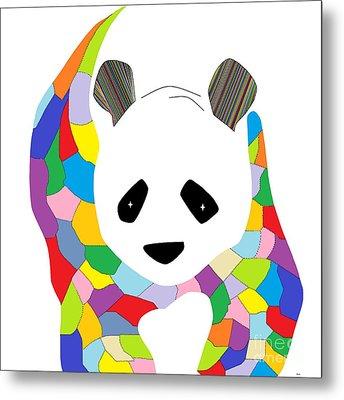 Patchwork Panda Metal Print by Eloise Schneider