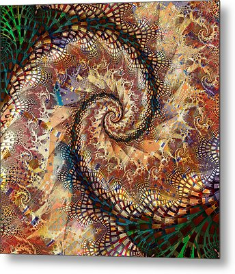 Metal Print featuring the digital art Patchwork Spiral by Richard Ortolano