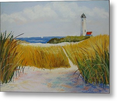 Path To Lighthouse Metal Print