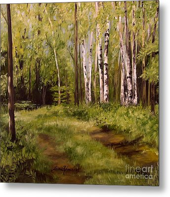 Metal Print featuring the painting Path To The Birches by Laurie Rohner