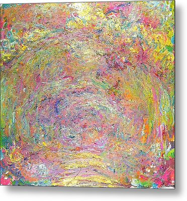 Path Under The Rose Trellises Metal Print