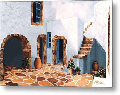 Patio In Patmos, Greece-prints From Original Oil Painting Metal Print