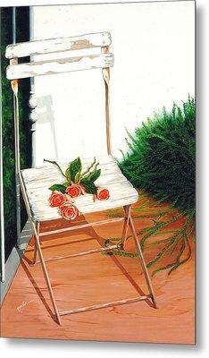 Patio Rose, Prints From Original Oil Paintings Metal Print