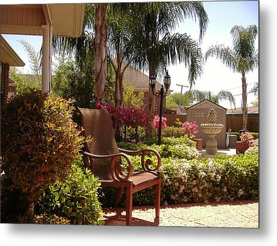 Patio View Metal Print by Diane Ferguson