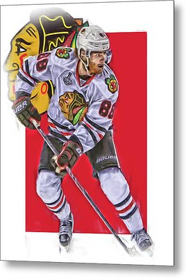 Patrick Kane Chicago Blackhawks Oil Art Series 2 Metal Print