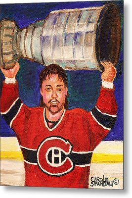 Patrick Roy Wins The Stanley Cup Metal Print by Carole Spandau