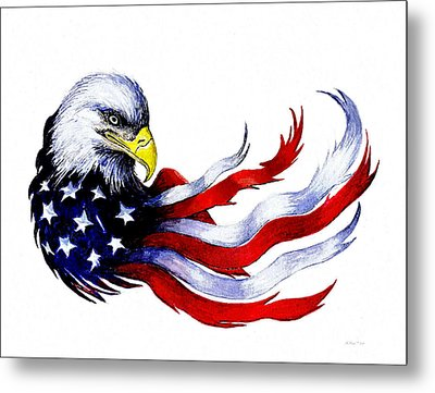 Patriotic Eagle Signed Metal Print by Andrew Read