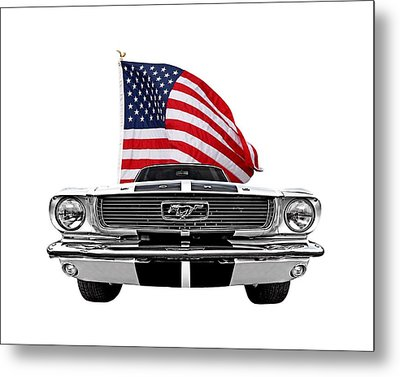 Patriotic Mustang On White Metal Print