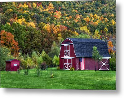 Patriotic Red Barn Metal Print
