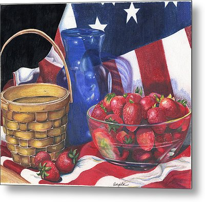 Patriotic Strawberries Metal Print