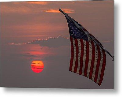 Patriotic Sunset Metal Print by Mark Papke