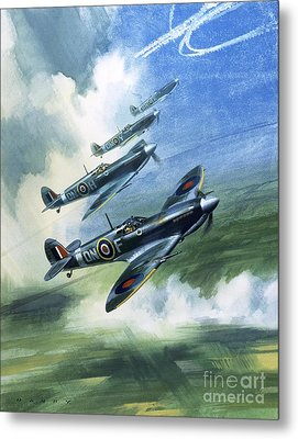 Patrolling Flight Of 416 Squadron, Royal Canadian Air Force, Spitfire Mark Nines Metal Print by Wilf Hardy