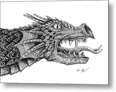 Metal Print featuring the drawing Pattern Design Dragon by Aaron Spong