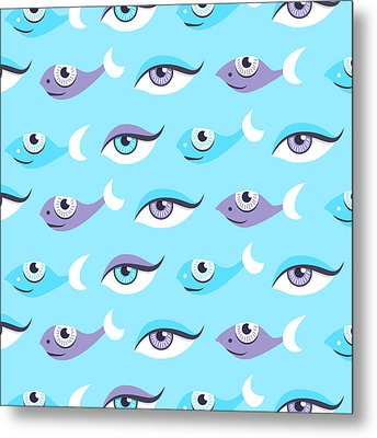 Pattern Of Blue Eyes And Fish In Sea Metal Print