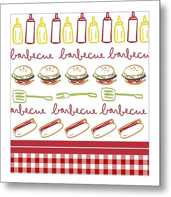 Pattern With Barbecue Lettering, Hot Metal Print