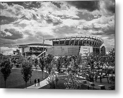 Paul Brown Stadium Black And White Metal Print by Scott Meyer