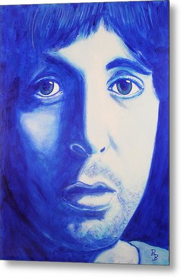 Metal Print featuring the painting Paul Mccartney Beatles White Album by Bob Baker