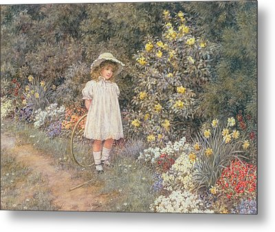 Pause For Reflection Metal Print by Helen Allingham