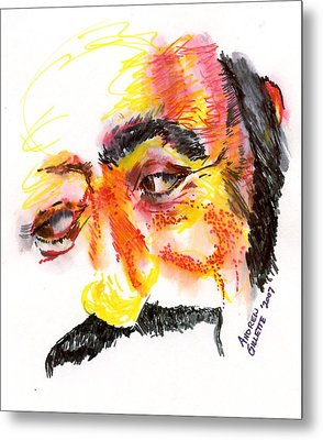 Pavarotti Sketch No. 1 Metal Print by Andrew Gillette